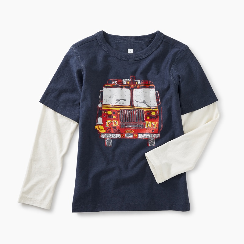 Fire Truck Layered Graphic Tee