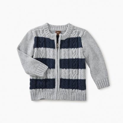 Donegal Stripe Baby Zip Cardi