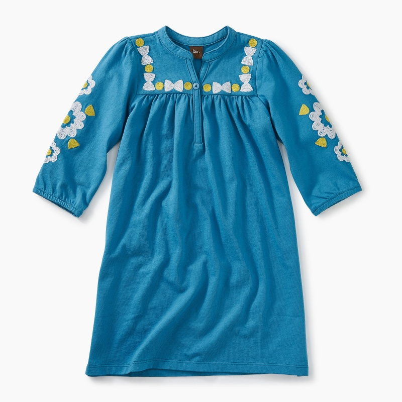 Embroidered Henley Dress
