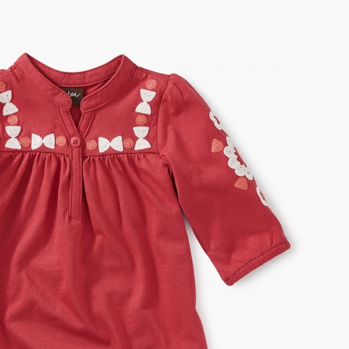 Embroidered Henley Baby Dress