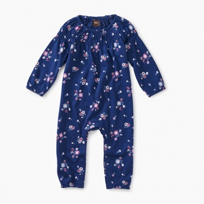 Winter Blooms Smocked Romper