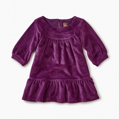 Velour Ruffle Baby Dress