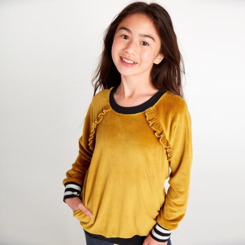 Velour Ruffle Tunic Pullover