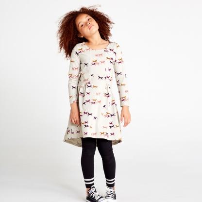 Patterned Hi-Lo Paneled Dress