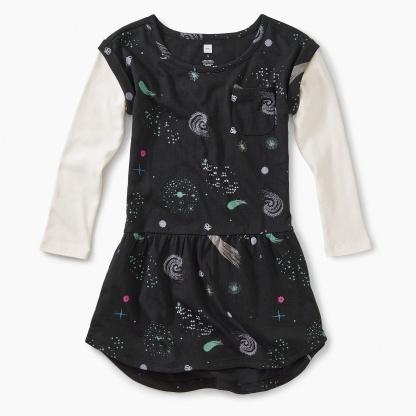 Layered Sleeve Pocket Dress
