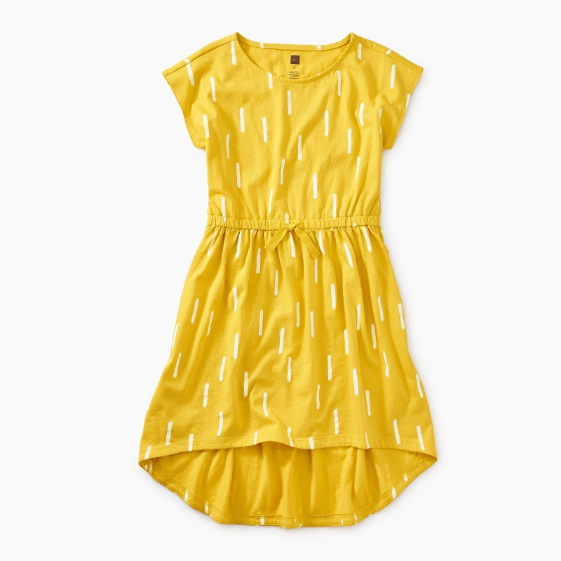 Printed Hi-Lo Tie Waist Dress