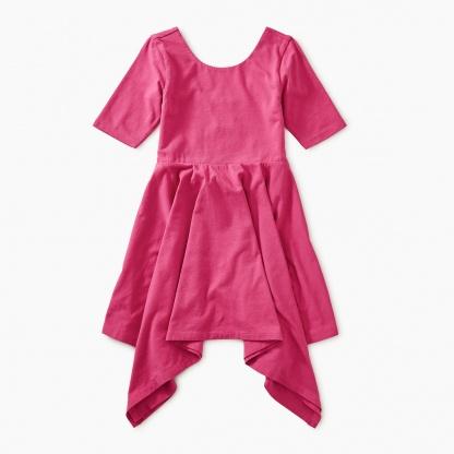 Solid Handkerchief Hem Dress