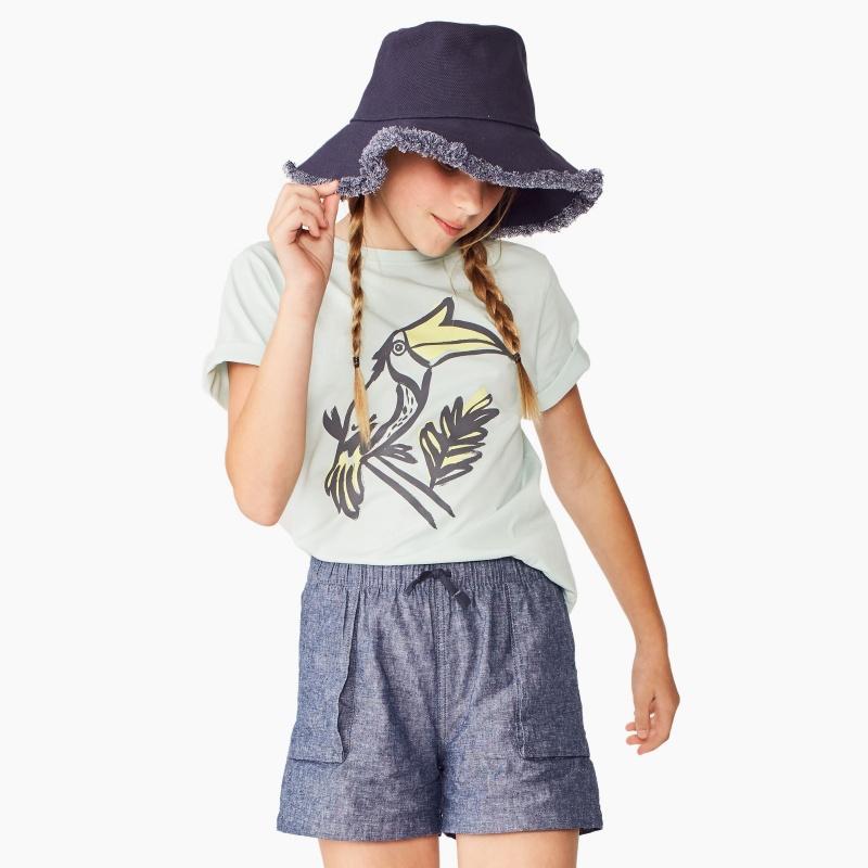 Ditsy Chambray Pull-On Shorts