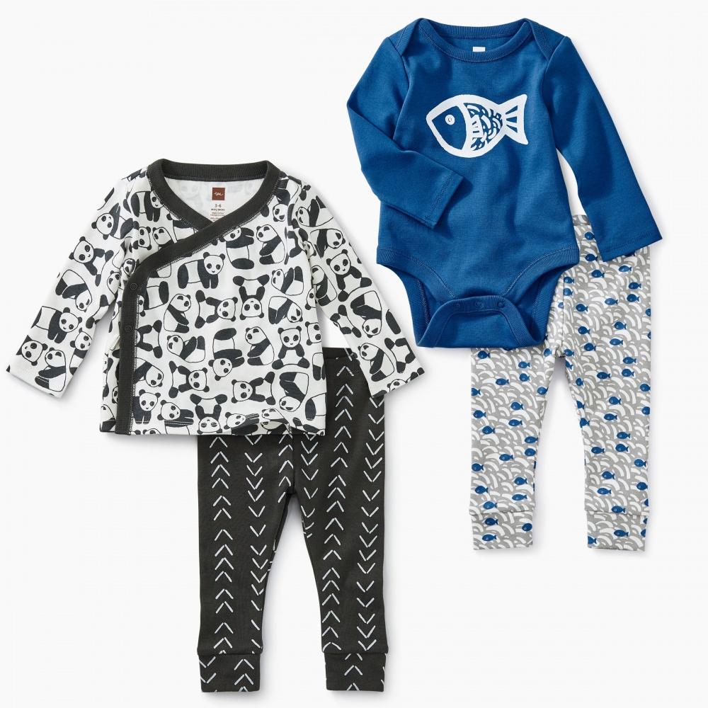 Black White & Blue Baby Set