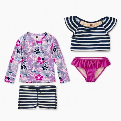 Floral Stripes Swim Set