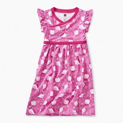 Printed Wrap Neck Dress