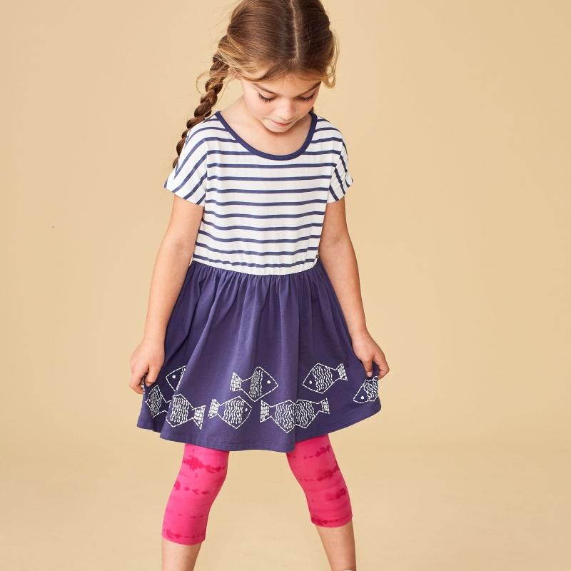 Geo Fish Graphic Twirl Dress