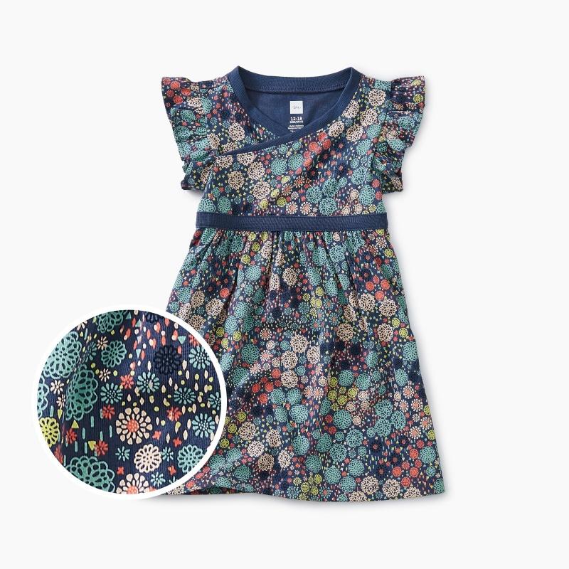 Printed Wrap Neck Baby Dress