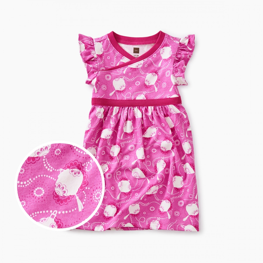 Printed Wrap Neck Baby Dress