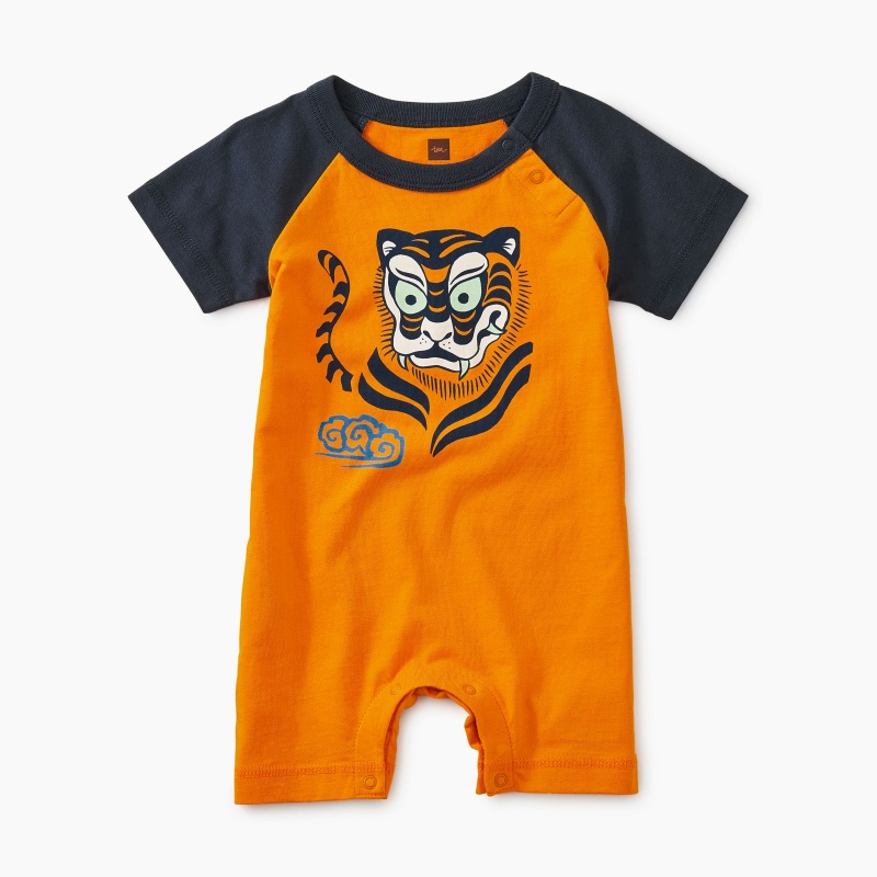 Tiger Graphic Raglan Romper