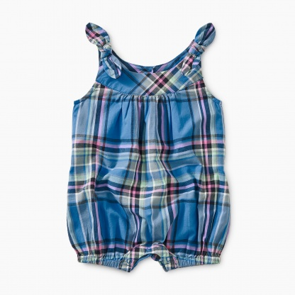 Madras Shoulder-Tie Romper