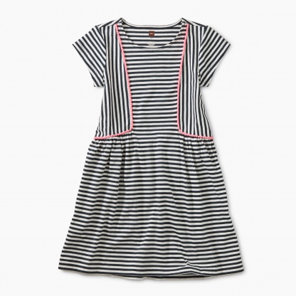 Pom Pom Striped Skirted Dress