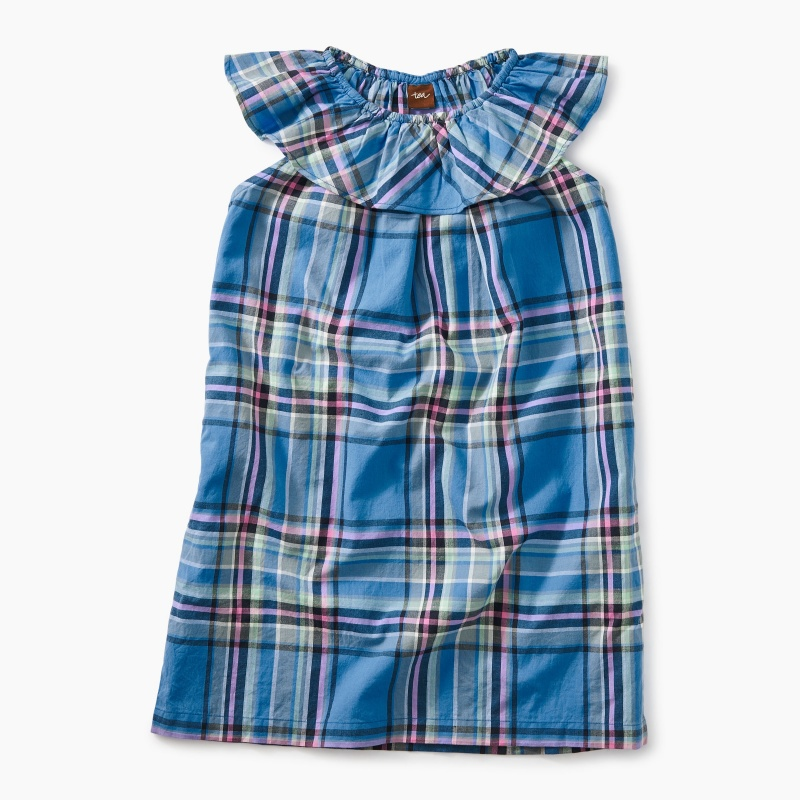 Madras Ruffle Neck Dress
