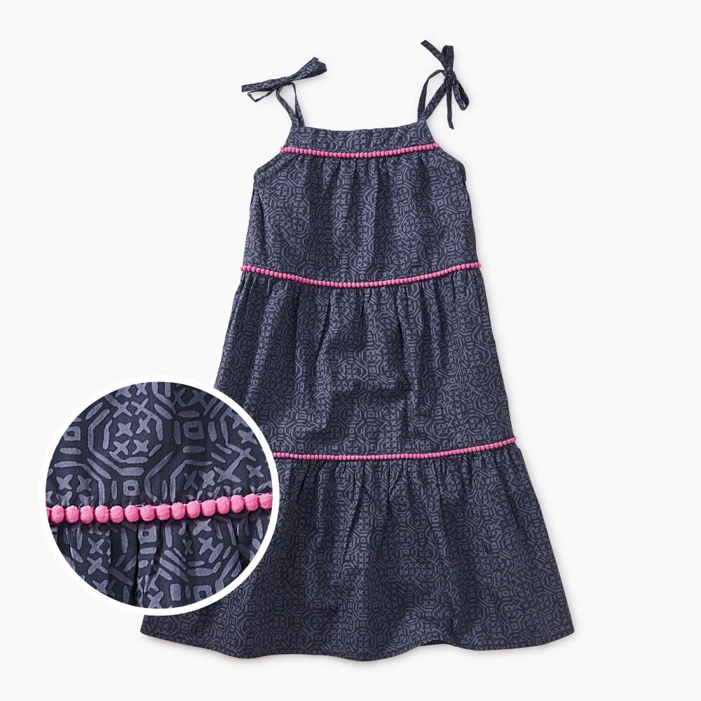 Printed Pom Pom Dress
