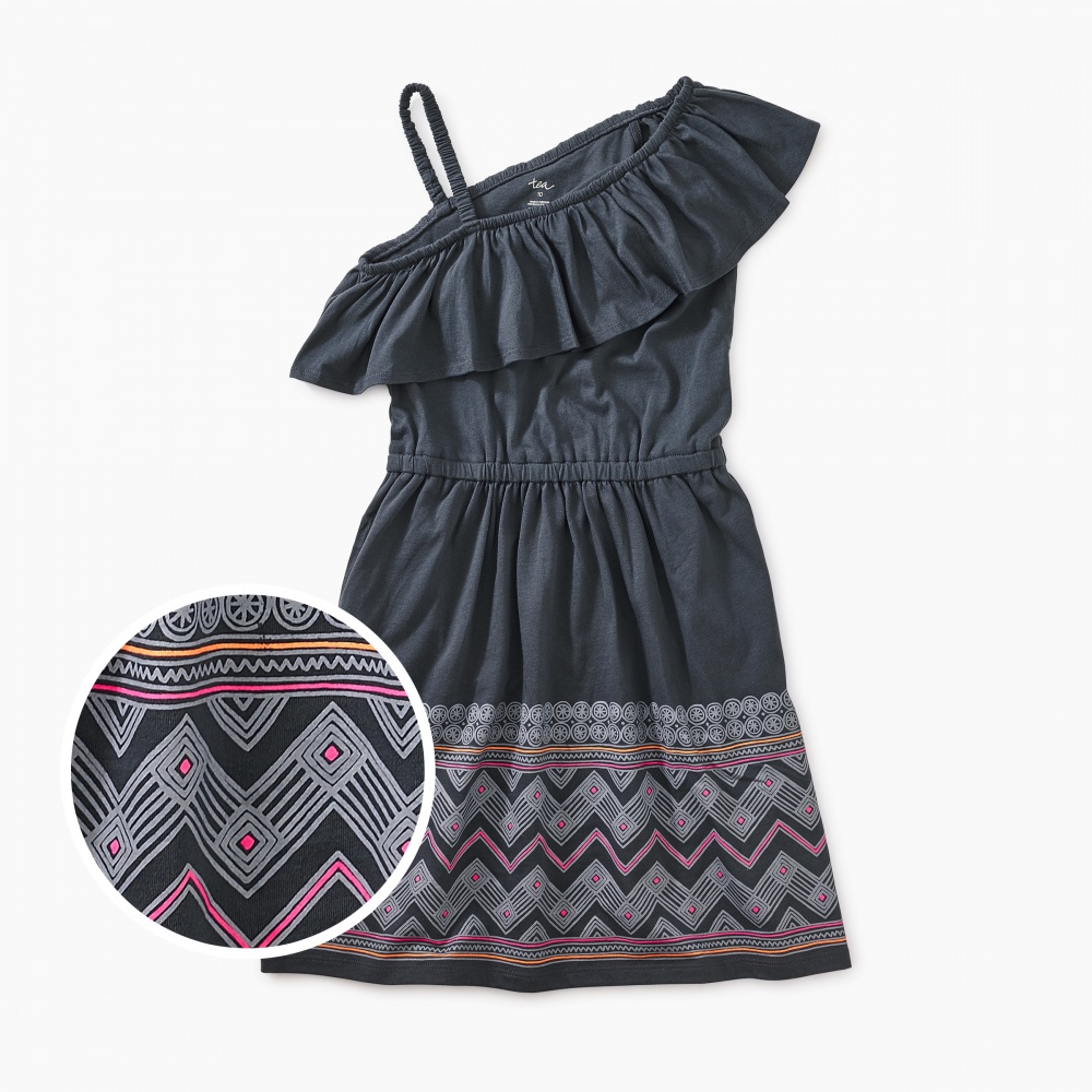Chevron Graphic Ruffle Shoulder Dress