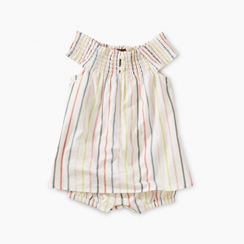 Stripe Smocked Romper Dress