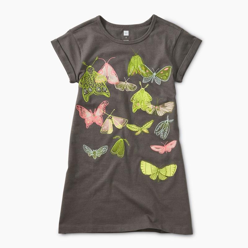 Butterflies Rolled Cuff Dress