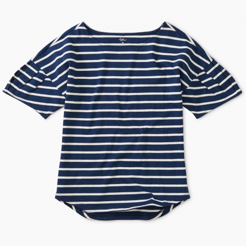 Striped Pleated Sleeve Top