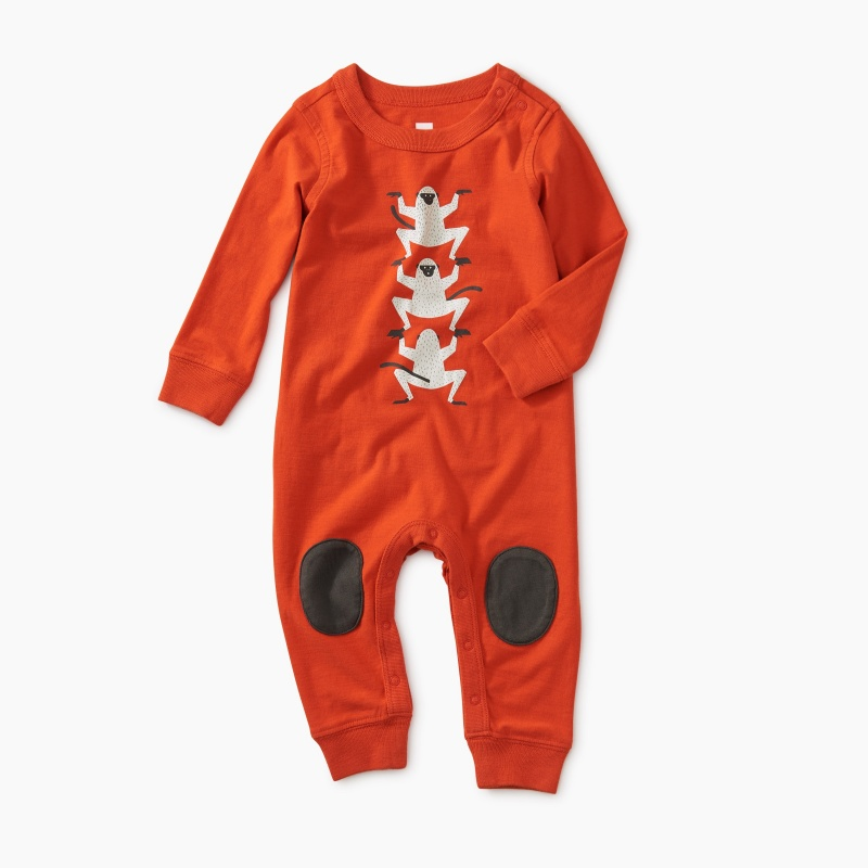 Monkey Graphic Knee Patch Romper