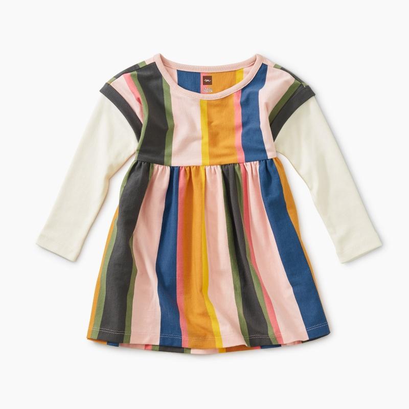 Striped Layered Sleeve Baby Dress