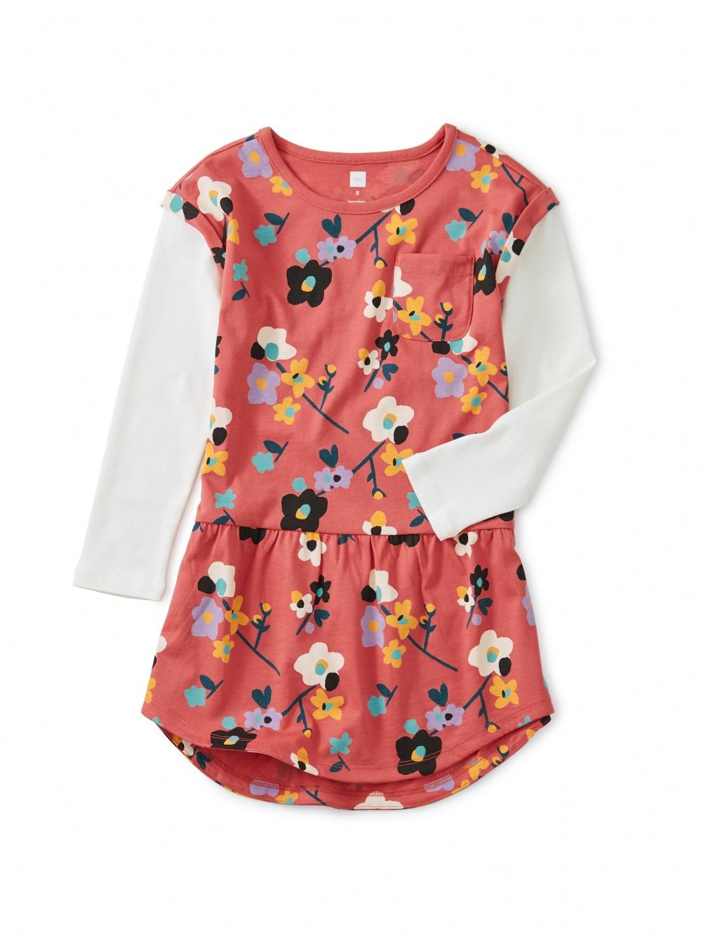 Printed Layered Sleeve Pocket Dress