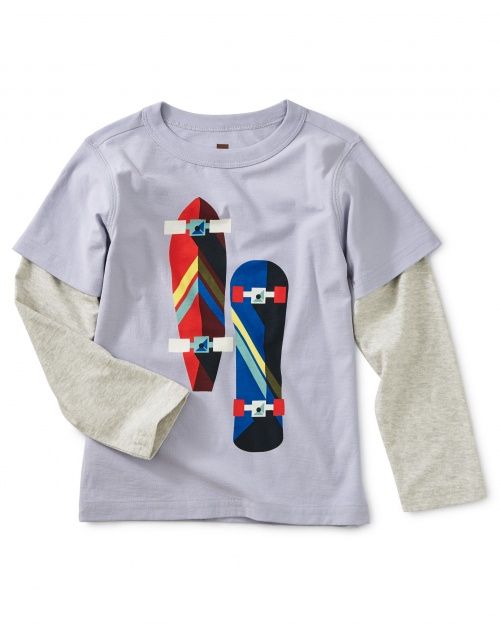Skate Board Graphic Layered Tee