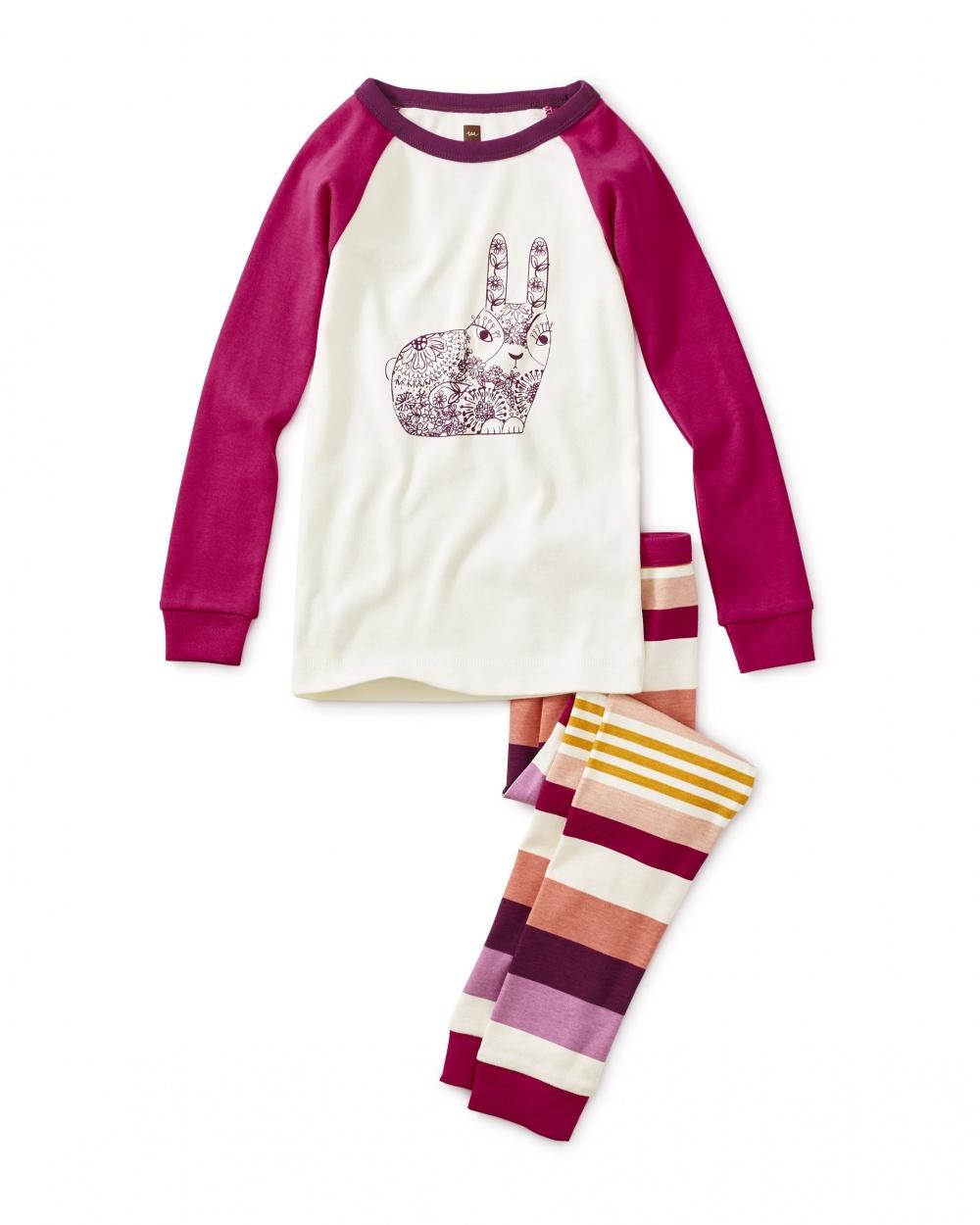 Woodblock Bunny Graphic Pajamas