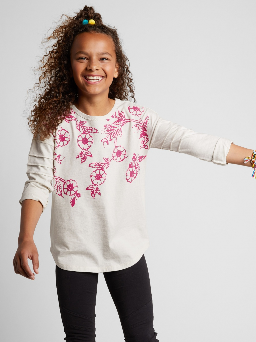 Floral Graphic Pintuck Sleeve Top