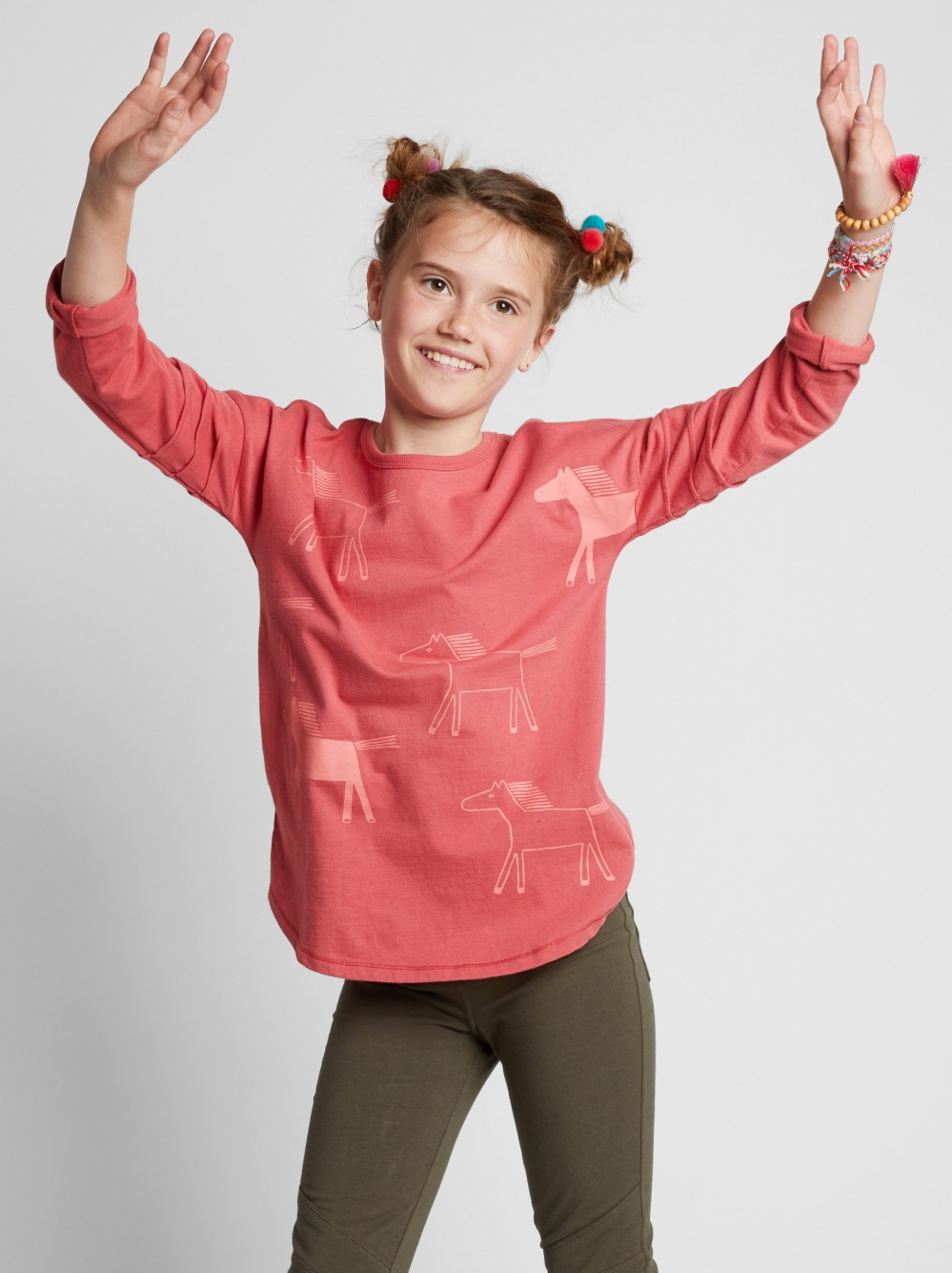 Horse Graphic Pintuck Sleeve Top