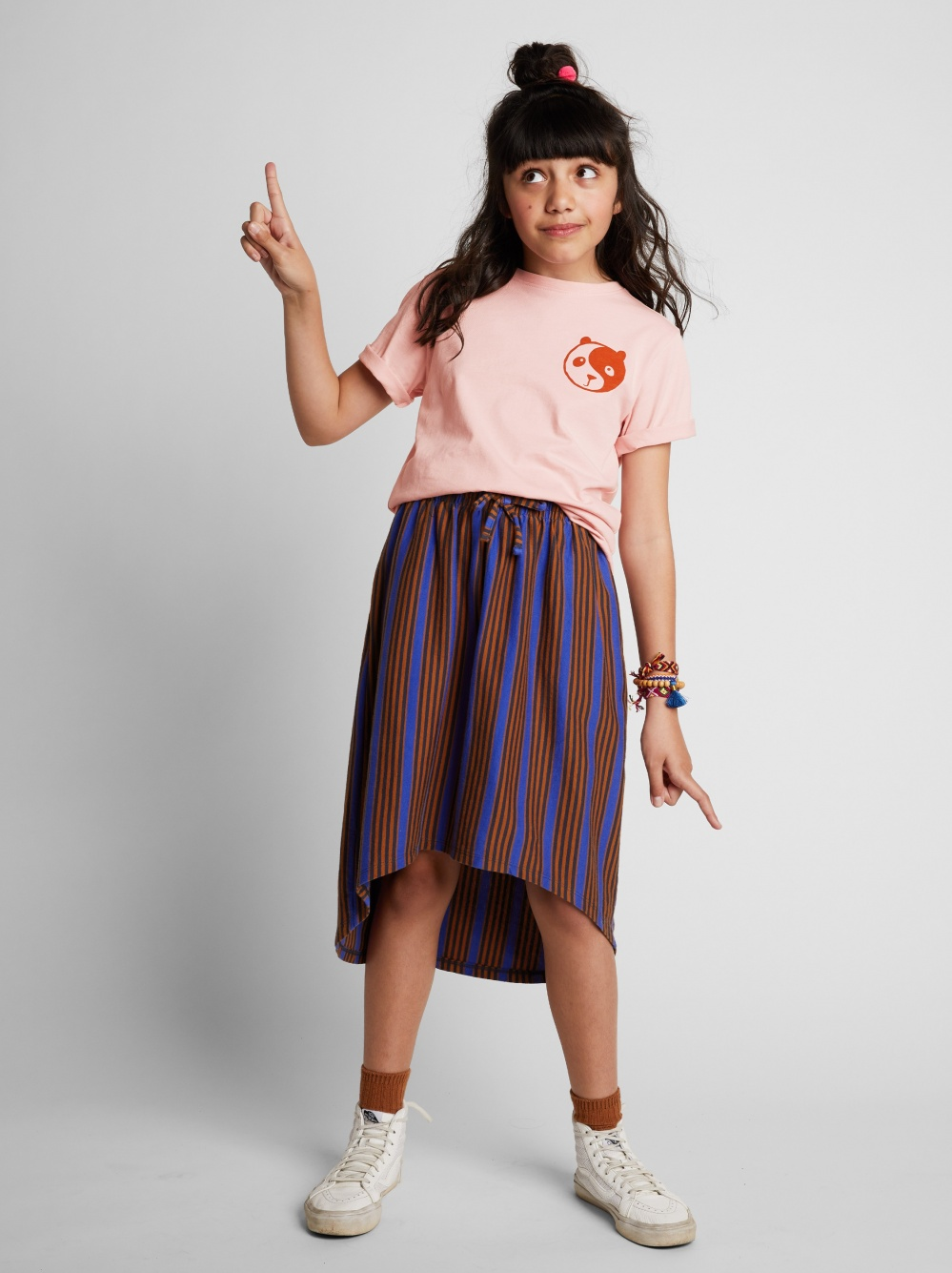 Striped Hi-Lo Skirt