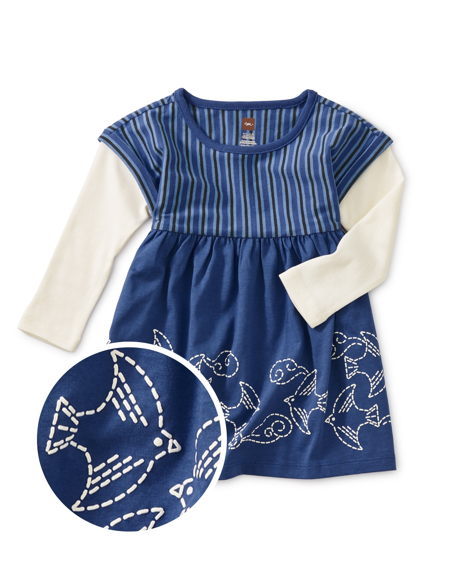 Details about  /Tea Collection Purple Gray Layered Sleeve Baby Dress
