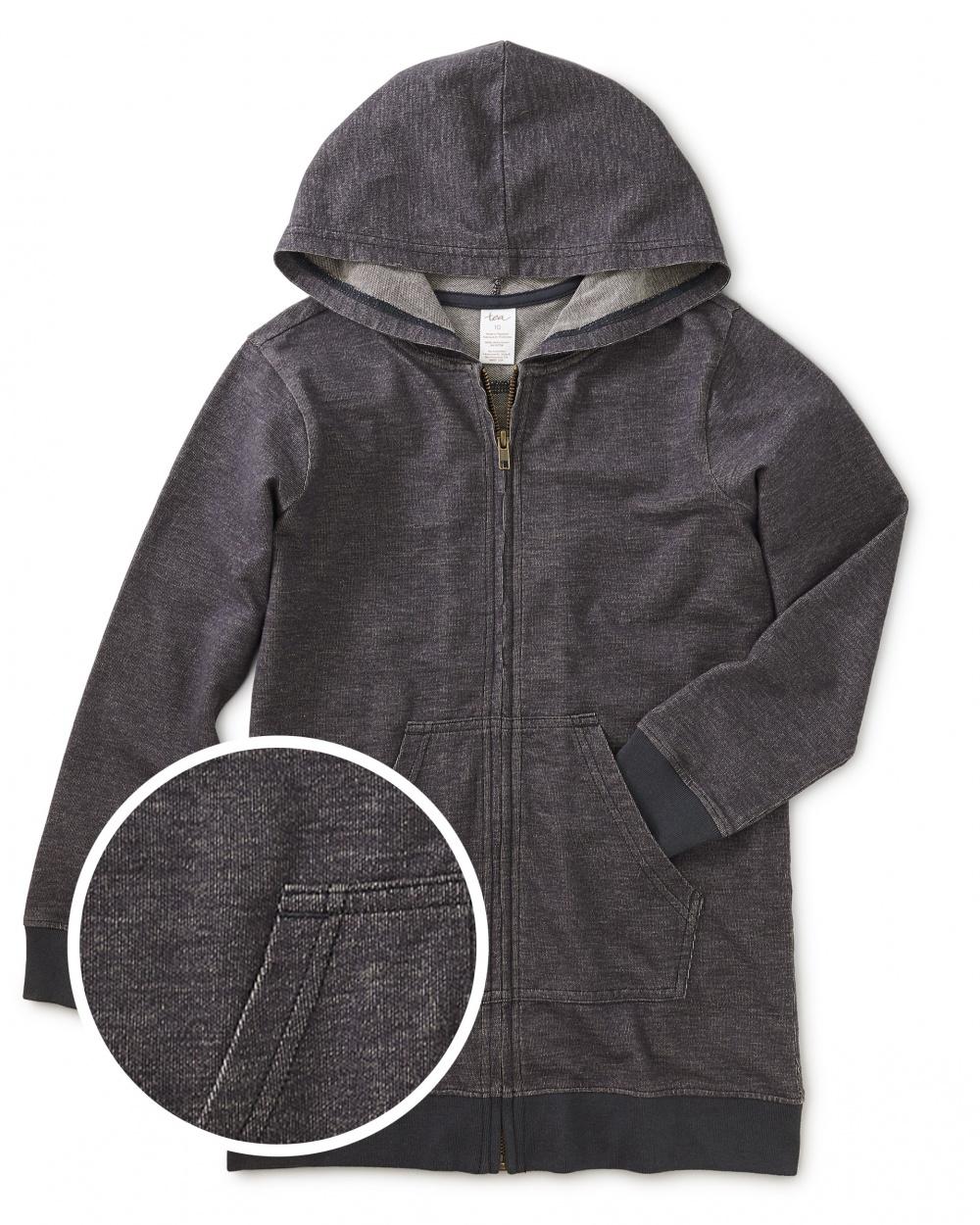 Denim-Like Zip Front Tunic Hoody