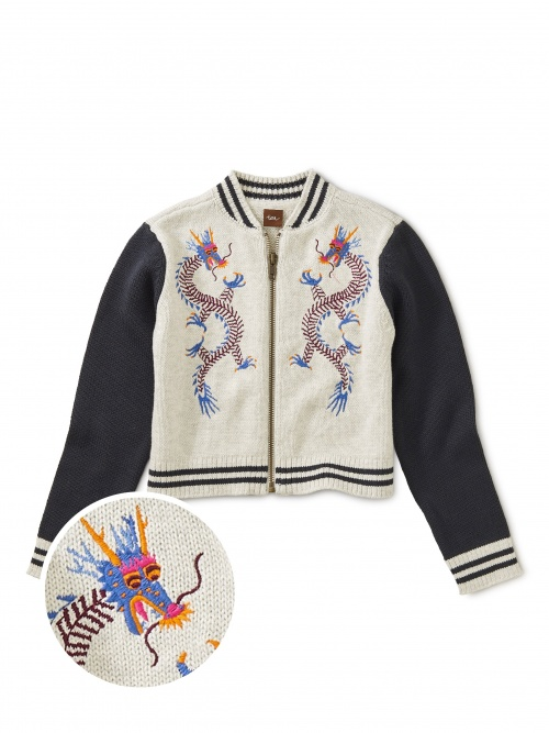 Double Dragons Embroidered Zip Cardi