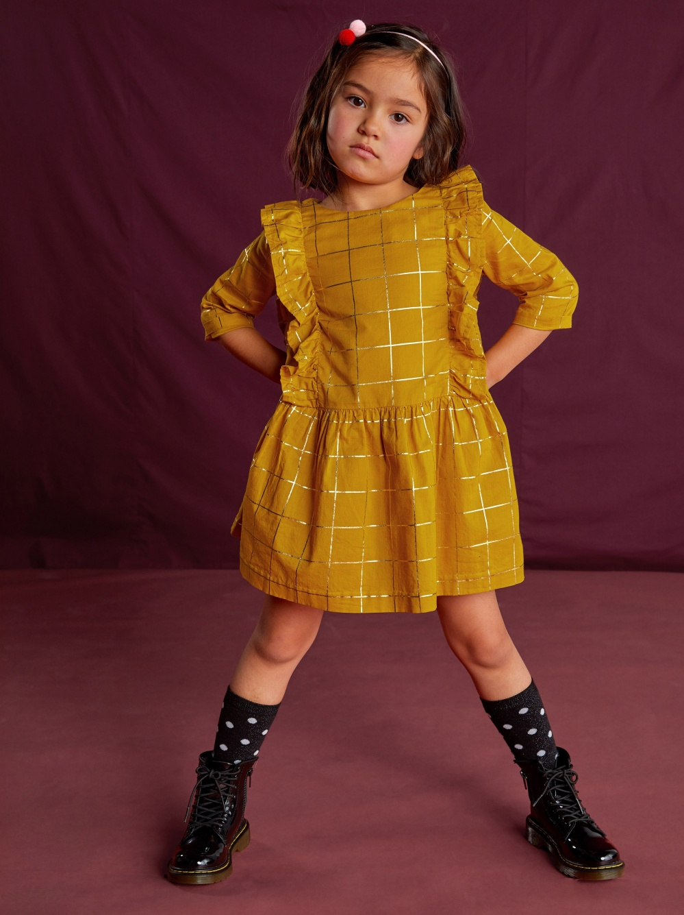 Golden Windowpane Ruffle Dress