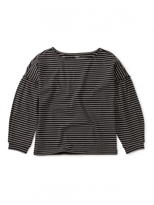 Striped Bishop Sleeve Top