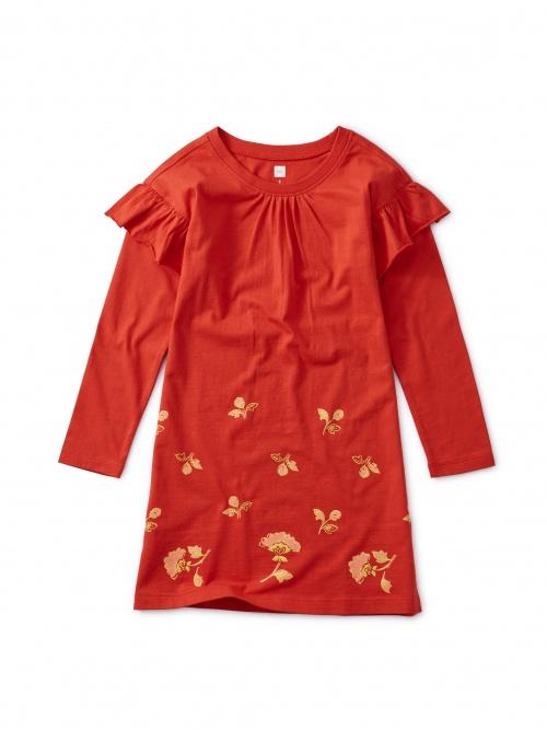Floral Border Ruffle Dress