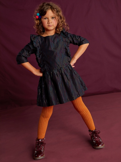 Rainbow Metallic Ruffle Dress