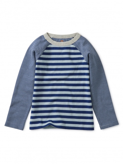 Double Knit Striped Raglan Tee