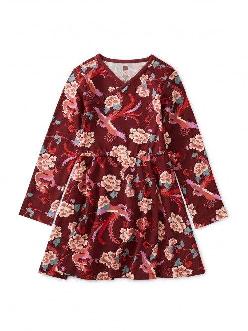 Full Skirt Wrap Neck Dress