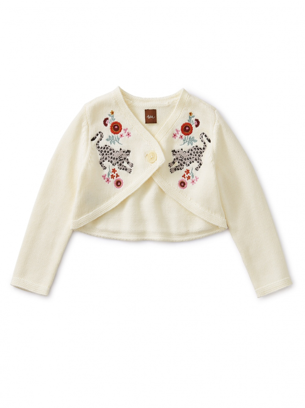 Embroidered Wrap Cardigan