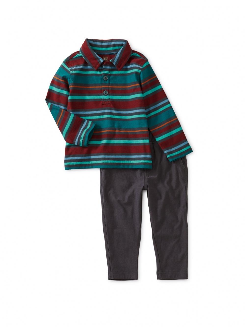 Striped Polo Baby Set