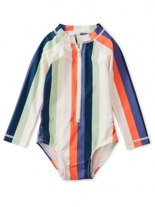 Striped Rash Guard One-Piece