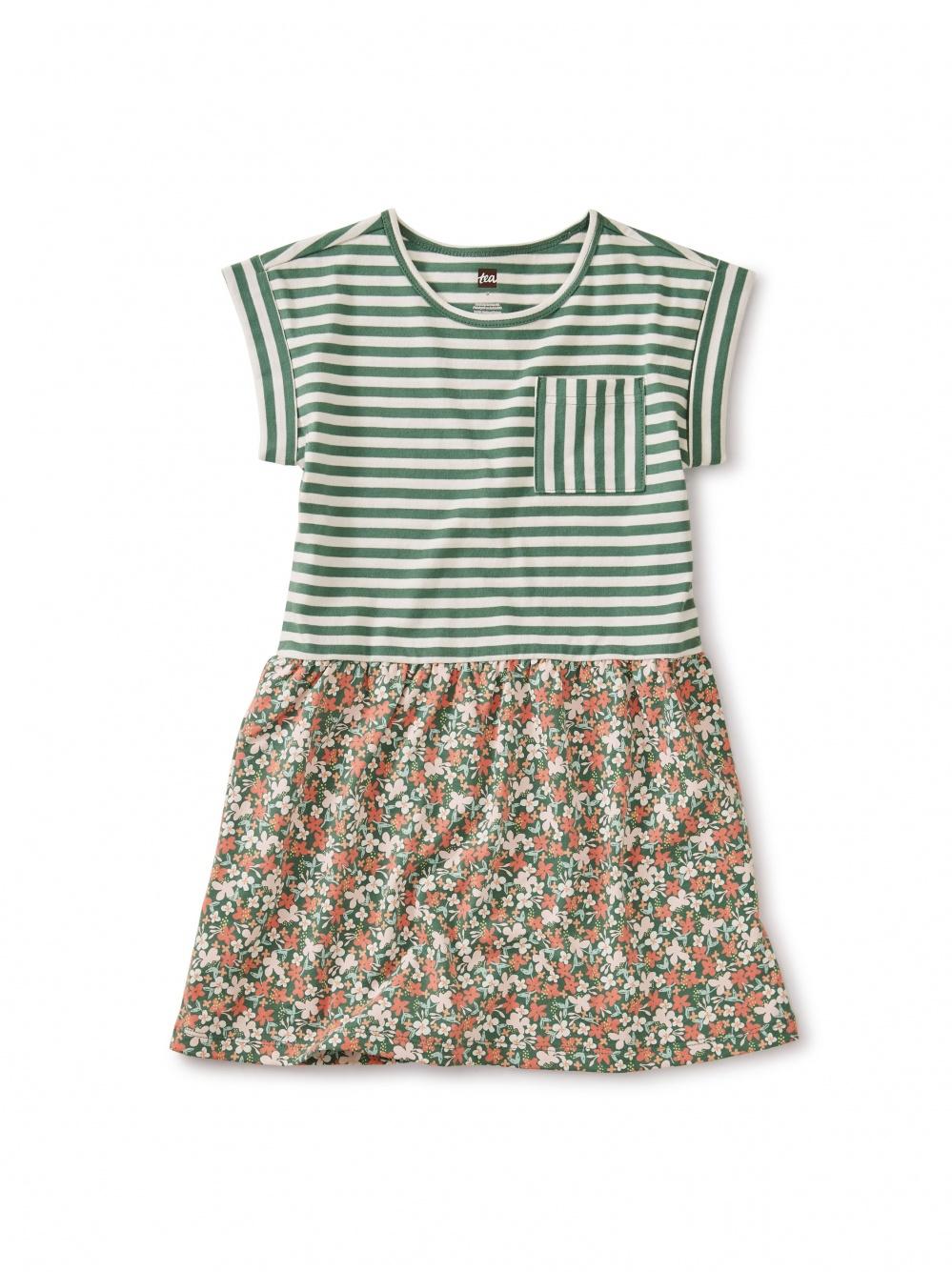Print Mix Cuff Sleeve Dress