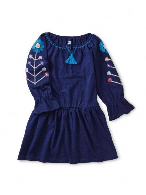 Embroidered Tassel Trim Dress