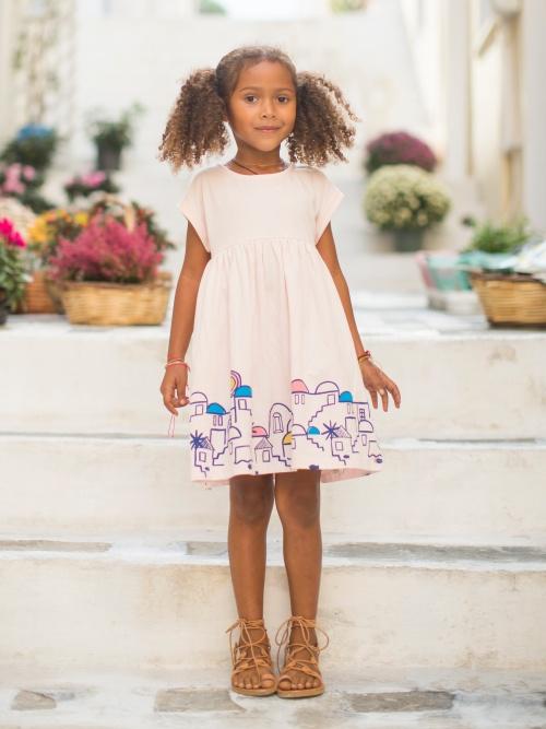 Santorini Cityscape Graphic Dress